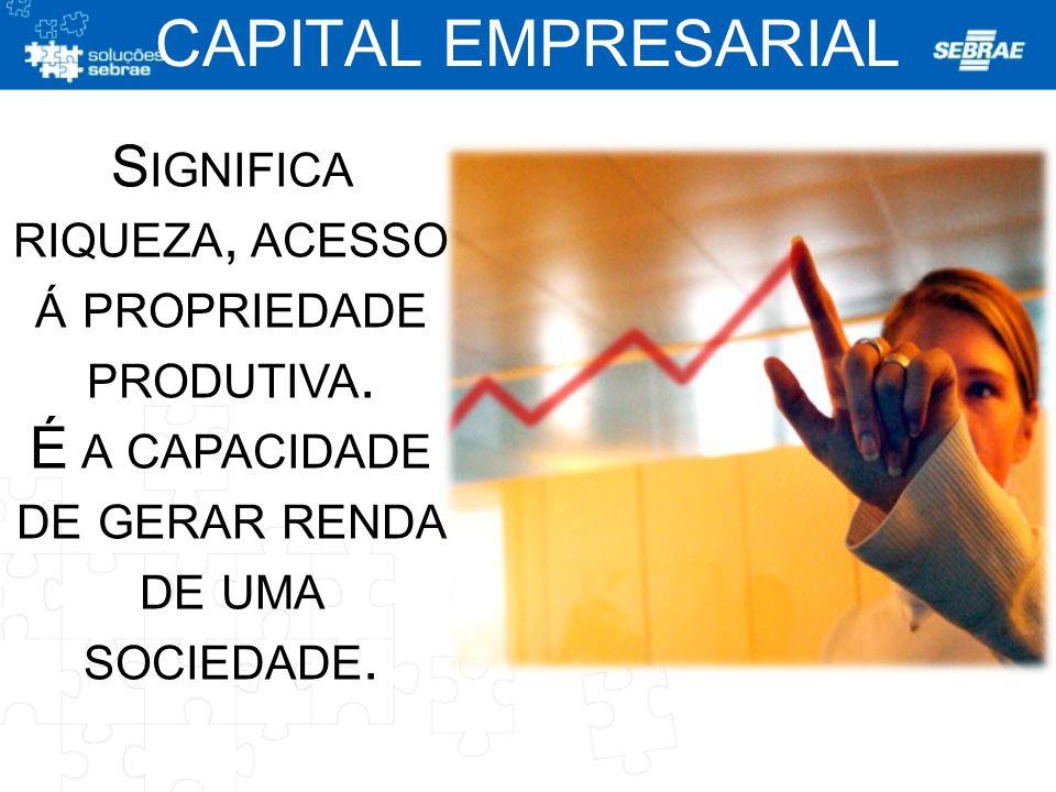 CAPITAL EMPRESARIAL Significa riqueza, acesso á propriedade produtiva.