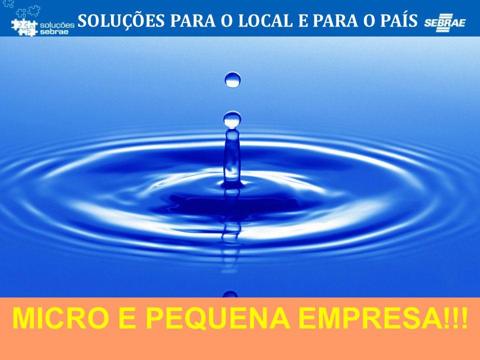 SOLUÇÕES PARA O LOCAL E PARA O PAÍS MICRO E PEQUENA EMPRESA!!!