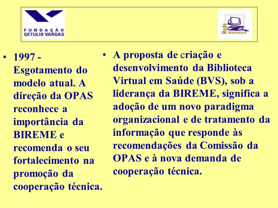 A proposta de criação e desenvolvimento da Biblioteca Virtual em Saúde (BVS), sob a liderança da BIREME, significa a adoção de um novo paradigma organizacional e de tratamento da informação que responde às recomendações da Comissão da OPAS e à nova demanda de cooperação técnica.