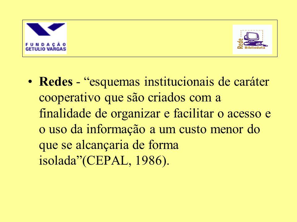 Redes - esquemas institucionais de caráter cooperativo que são criados com a finalidade de organizar e facilitar o acesso e o uso da informação a um custo menor do que se alcançaria de forma isolada (CEPAL, 1986).