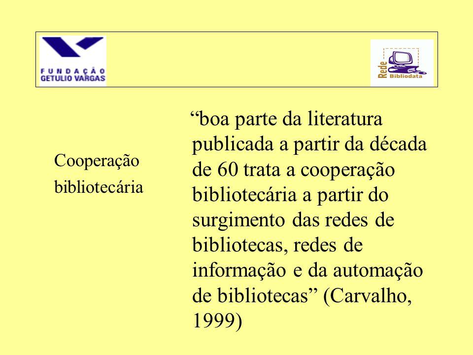 boa parte da literatura publicada a partir da década de 60 trata a cooperação bibliotecária a partir do surgimento das redes de bibliotecas, redes de informação e da automação de bibliotecas (Carvalho, 1999)