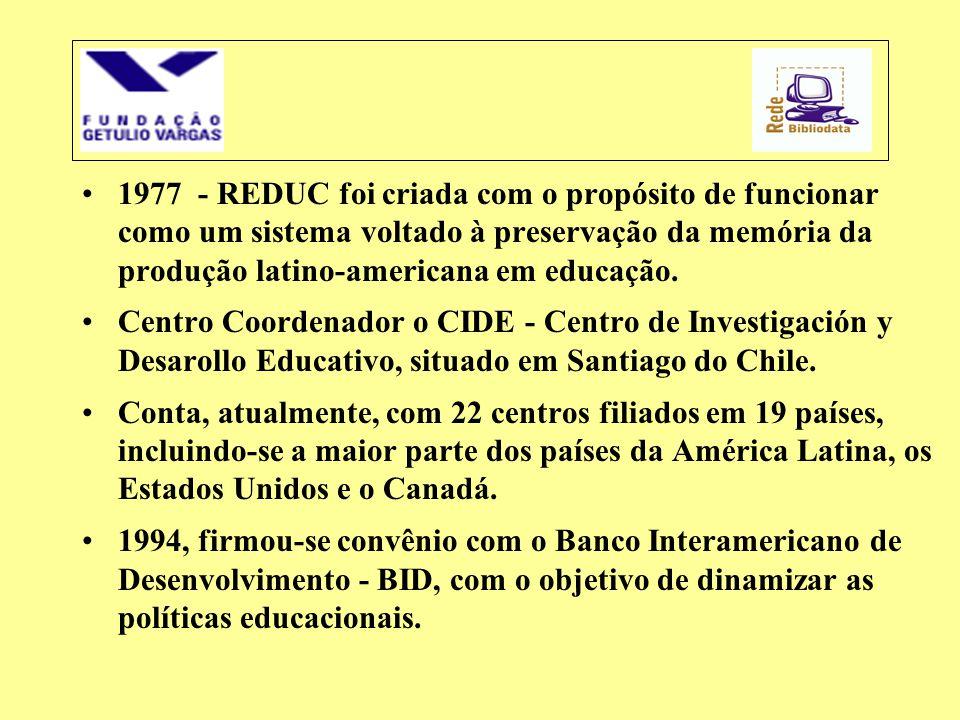 1977 - REDUC foi criada com o propósito de funcionar como um sistema voltado à preservação da memória da produção latino-americana em educação.