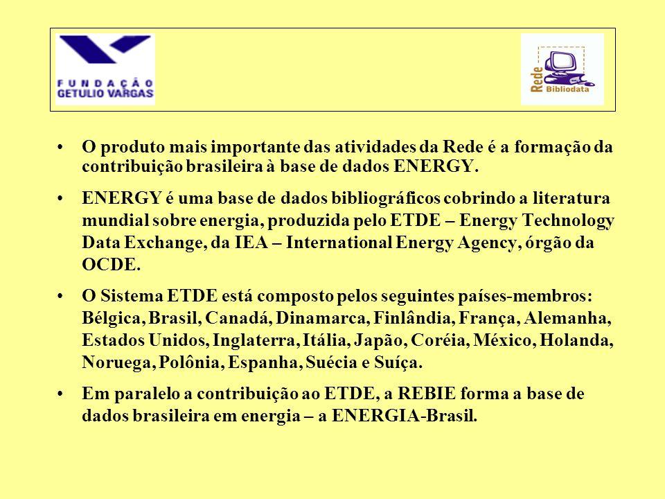 O produto mais importante das atividades da Rede é a formação da contribuição brasileira à base de dados ENERGY.