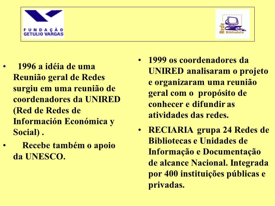 1996 a idéia de uma Reunião geral de Redes surgiu em uma reunião de coordenadores da UNIRED (Red de Redes de Información Económica y Social) .