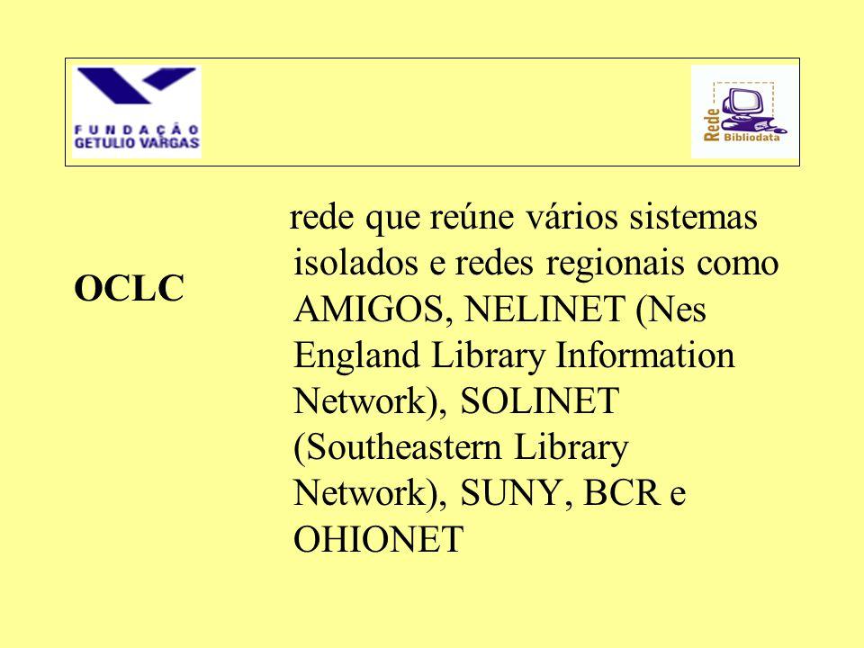 rede que reúne vários sistemas isolados e redes regionais como AMIGOS, NELINET (Nes England Library Information Network), SOLINET (Southeastern Library Network), SUNY, BCR e OHIONET