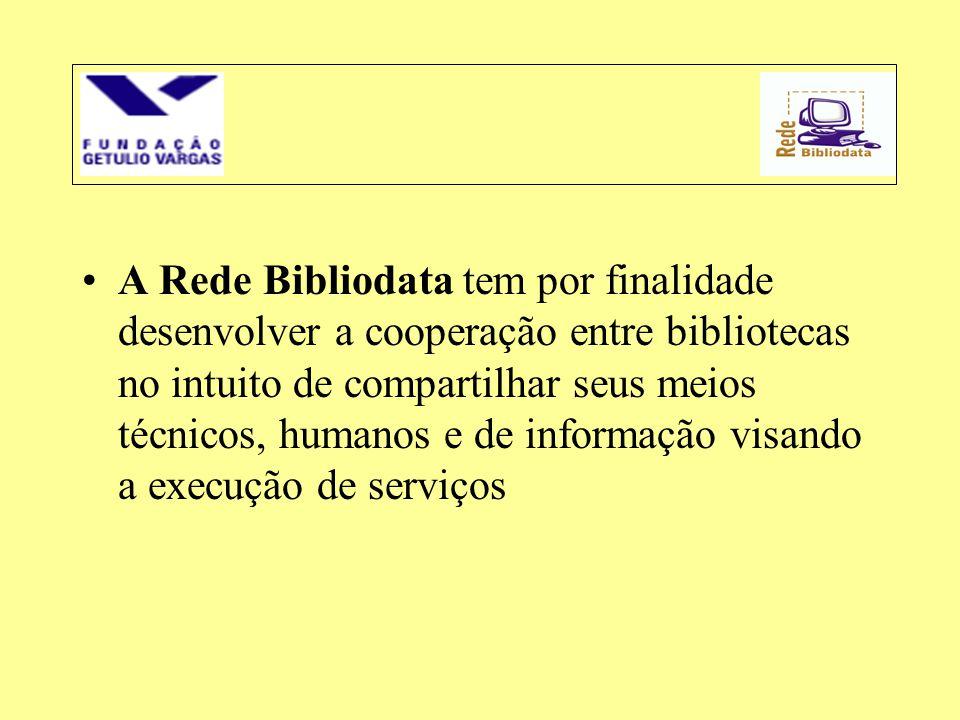 A Rede Bibliodata tem por finalidade desenvolver a cooperação entre bibliotecas no intuito de compartilhar seus meios técnicos, humanos e de informação visando a execução de serviços