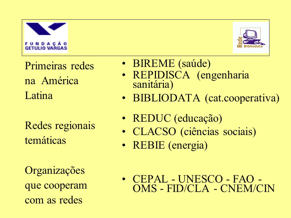 Primeiras redes na América. Latina. Redes regionais. temáticas. Organizações. que cooperam. com as redes.