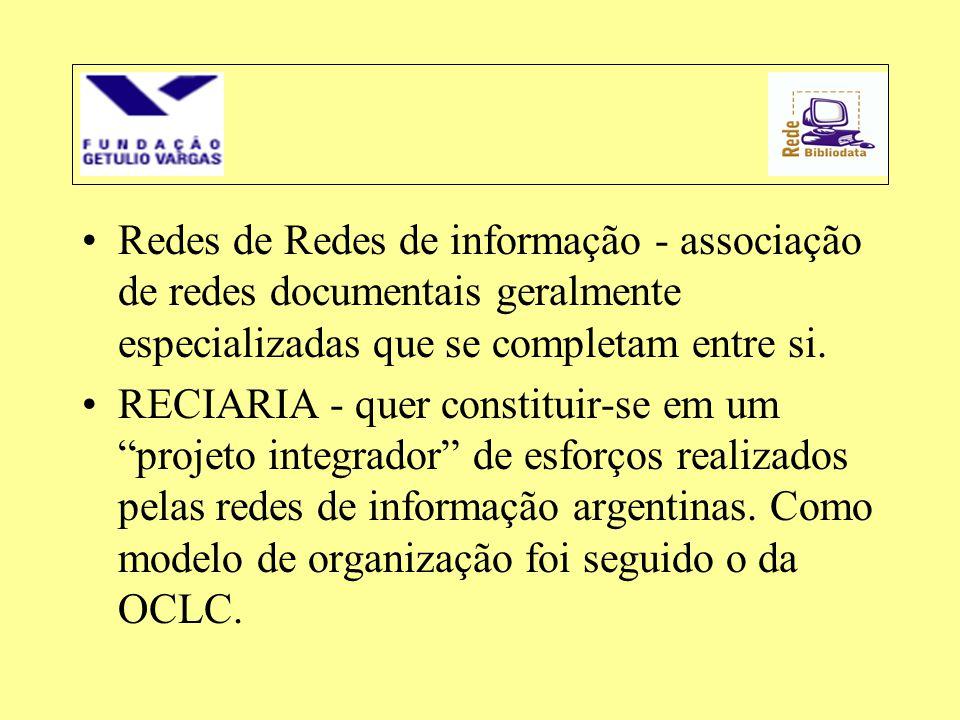 Redes de Redes de informação - associação de redes documentais geralmente especializadas que se completam entre si.