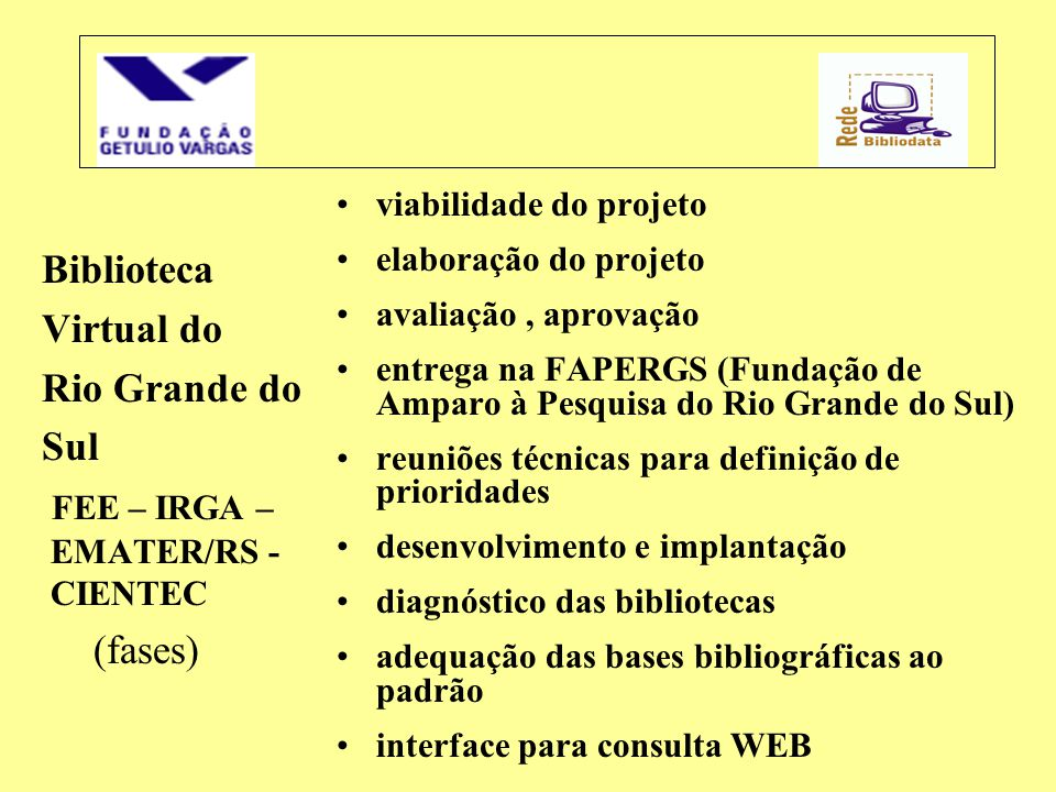 FEE – IRGA – EMATER/RS - CIENTEC