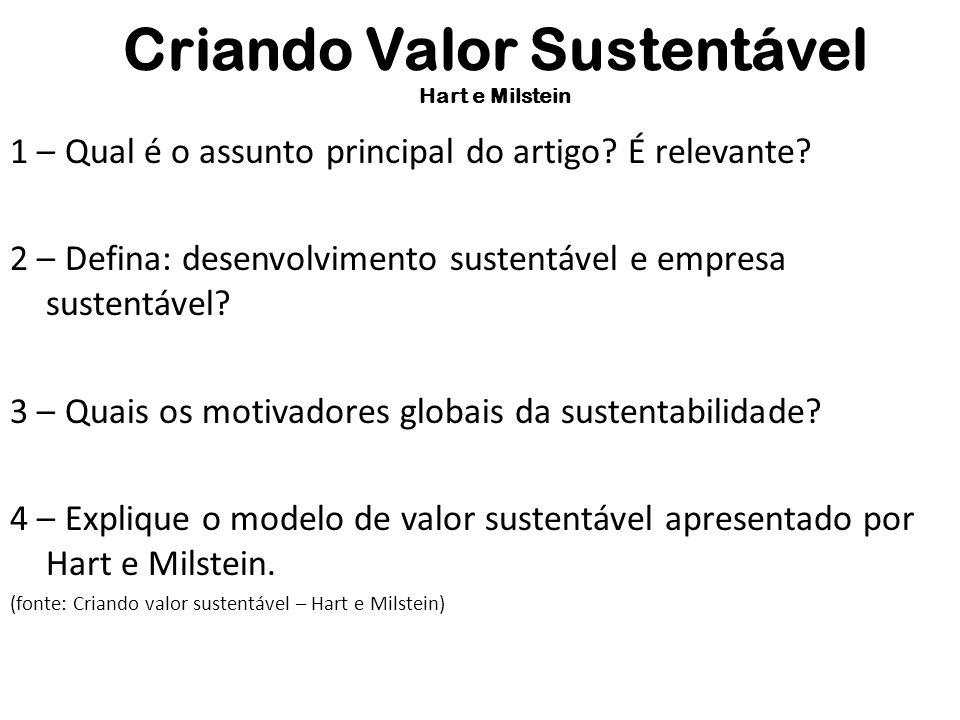 Criando Valor Sustentável Hart e Milstein