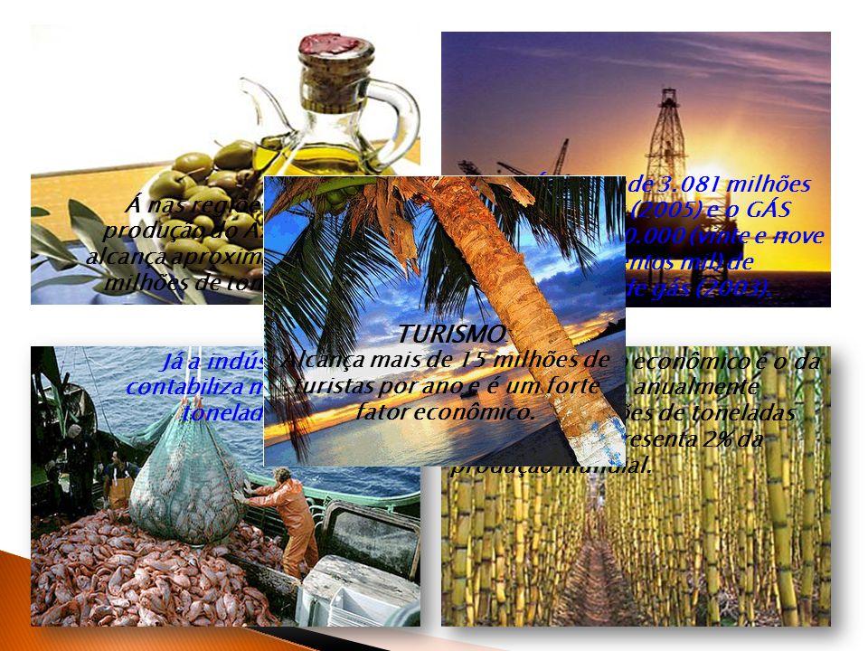 O PETRÓLEO rende 3.081 milhões de barris diários (2005) e o GÁS NATURAL 29.700.000 (vinte e nove milhões e setecentos mil) de metros cúbicos de gás (2003).