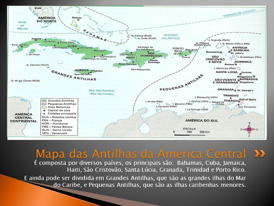 Mapa das Antilhas da América Central