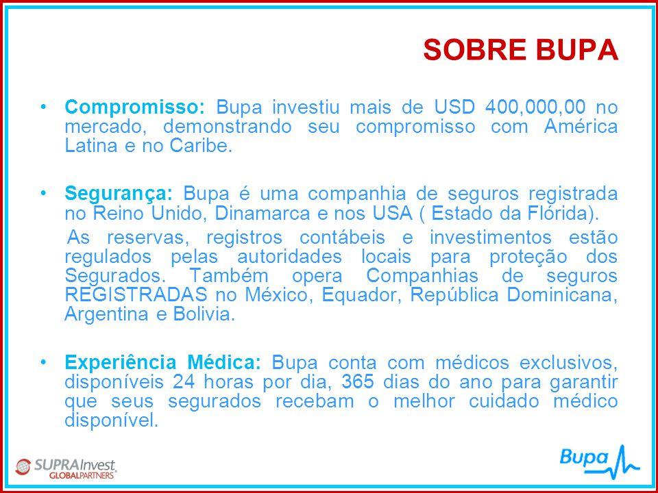 SOBRE BUPA Compromisso: Bupa investiu mais de USD 400,000,00 no mercado, demonstrando seu compromisso com América Latina e no Caribe.