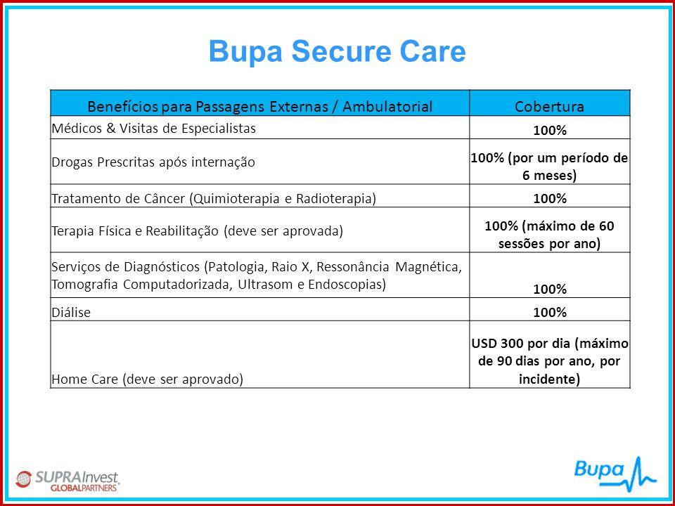 Bupa Secure Care Benefícios para Passagens Externas / Ambulatorial