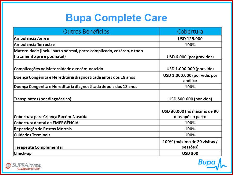 Bupa Complete Care Outros Benefícios Cobertura Ambulância Aérea
