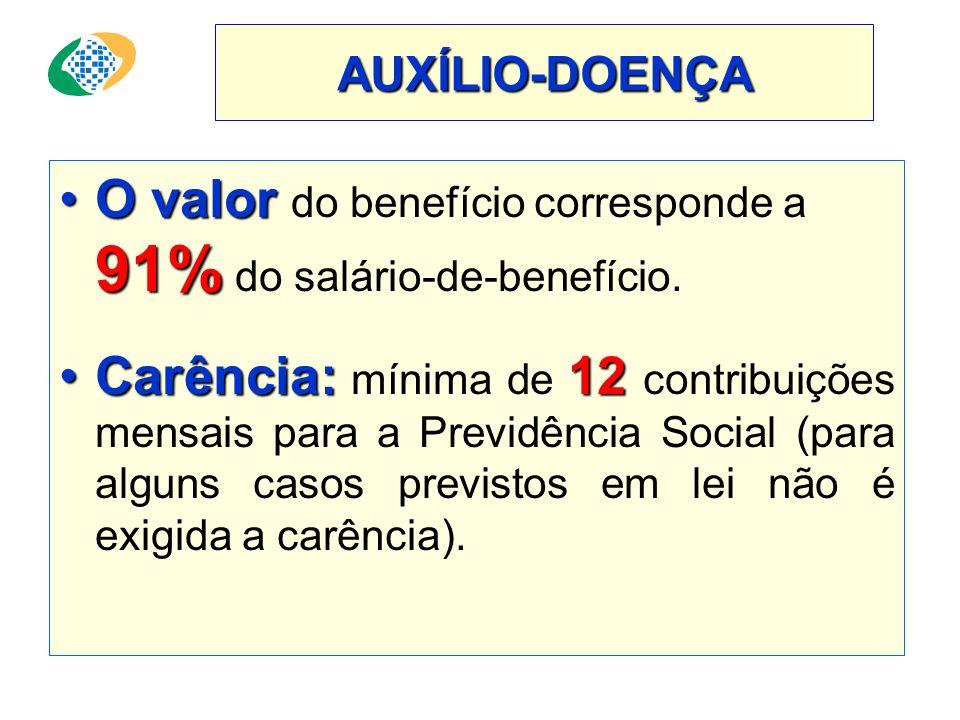 O valor do benefício corresponde a 91% do salário-de-benefício.