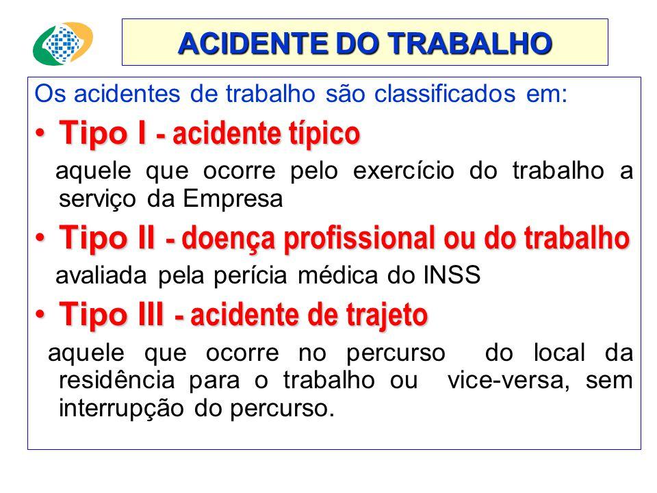 Tipo I - acidente típico