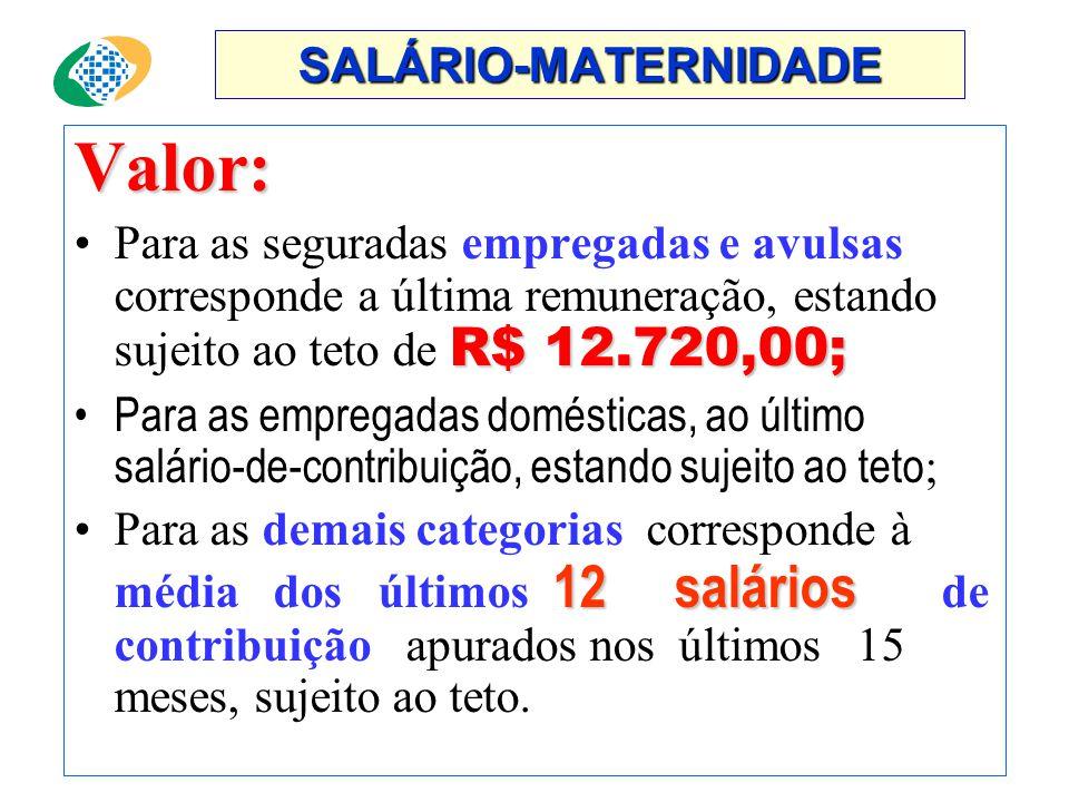 Valor: SALÁRIO-MATERNIDADE
