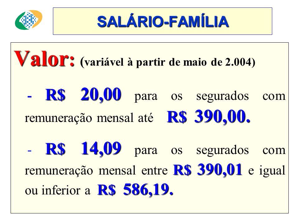 Valor: (variável à partir de maio de 2.004)
