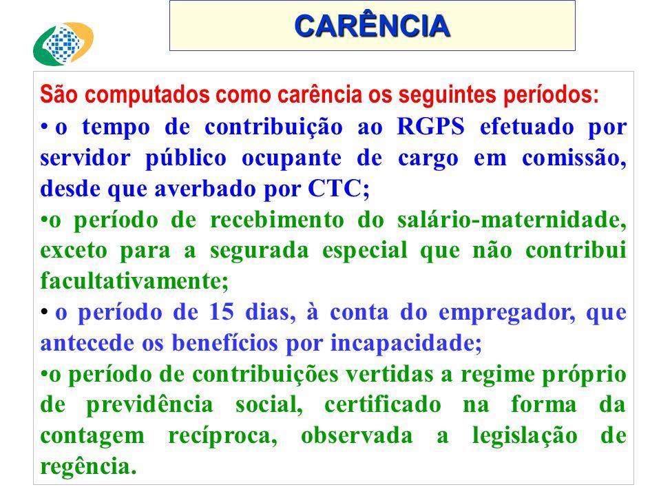 CARÊNCIA São computados como carência os seguintes períodos:
