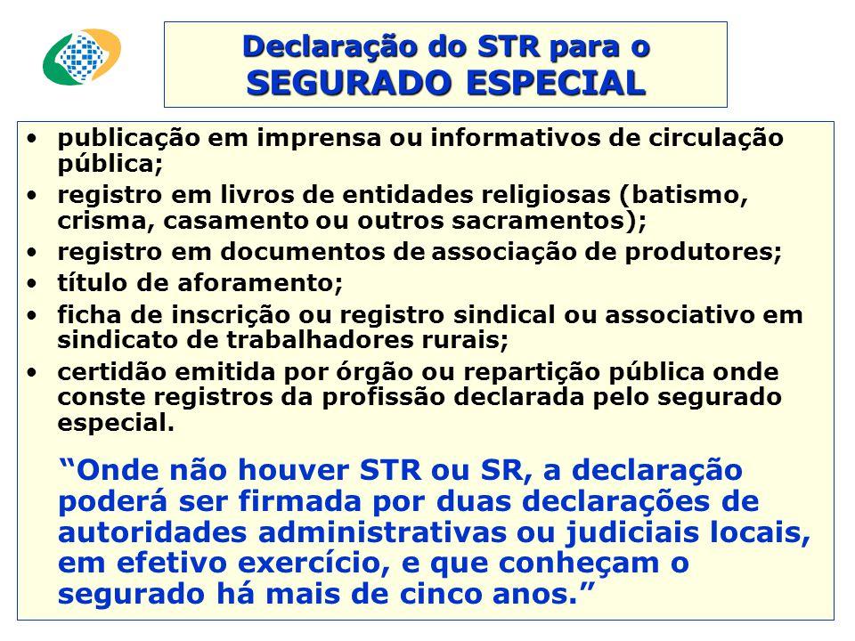Declaração do STR para o SEGURADO ESPECIAL
