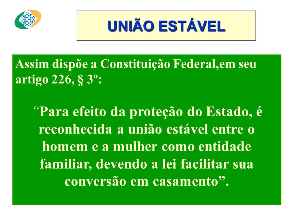 UNIÃO ESTÁVEL Assim dispõe a Constituição Federal,em seu artigo 226, § 3º: