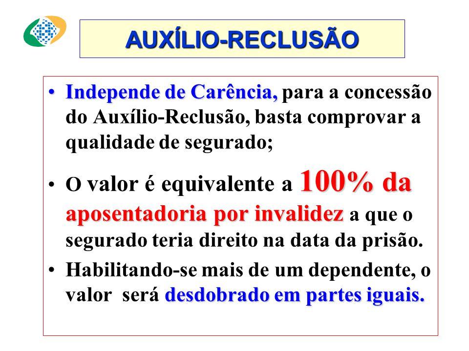AUXÍLIO-RECLUSÃO Independe de Carência, para a concessão do Auxílio-Reclusão, basta comprovar a qualidade de segurado;