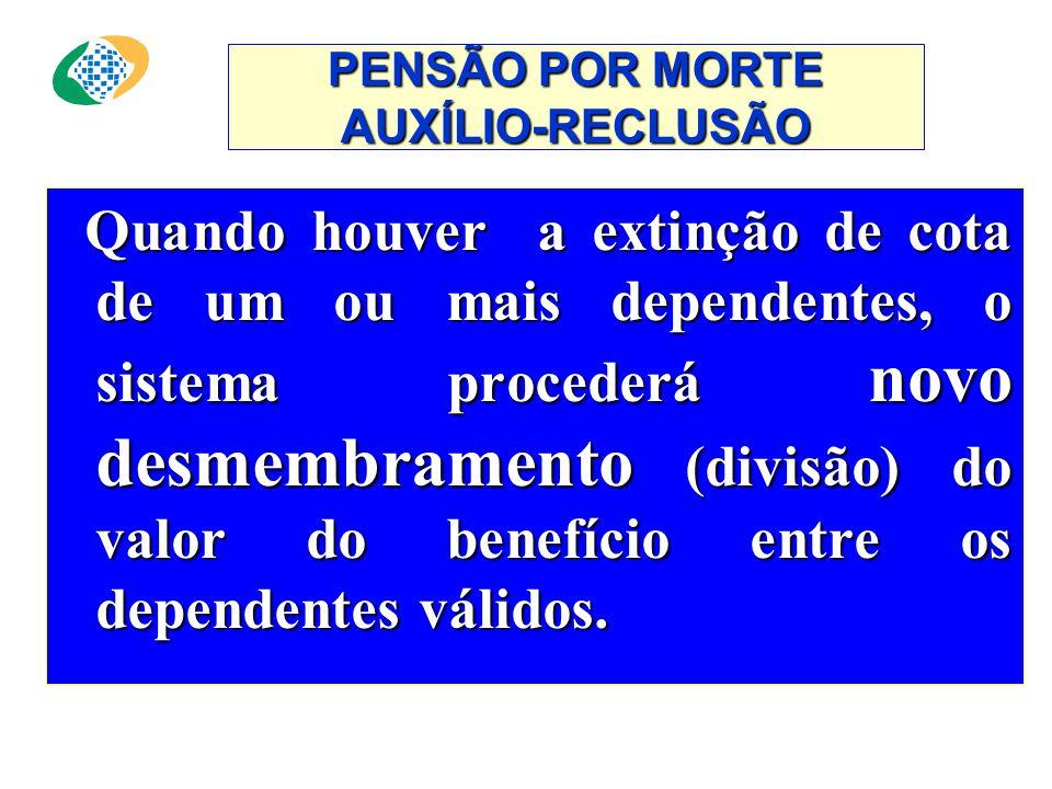 PENSÃO POR MORTE AUXÍLIO-RECLUSÃO