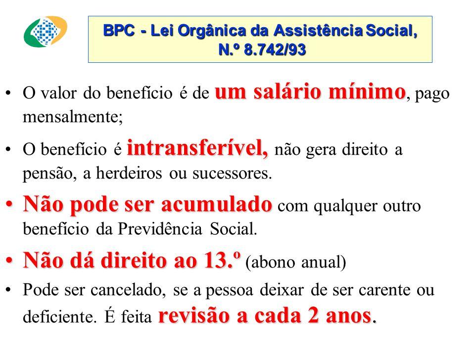 BPC - Lei Orgânica da Assistência Social, N.º 8.742/93