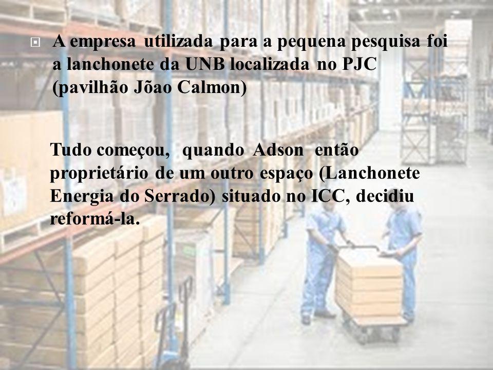 A empresa utilizada para a pequena pesquisa foi a lanchonete da UNB localizada no PJC (pavilhão Jõao Calmon)