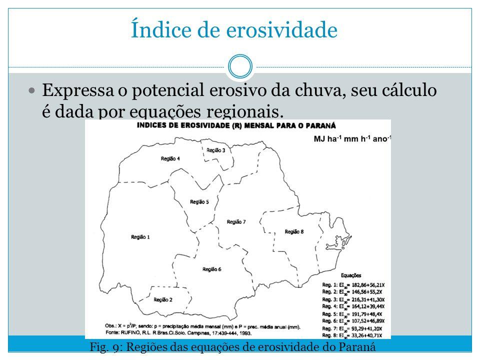Índice de erosividade Expressa o potencial erosivo da chuva, seu cálculo é dada por equações regionais.