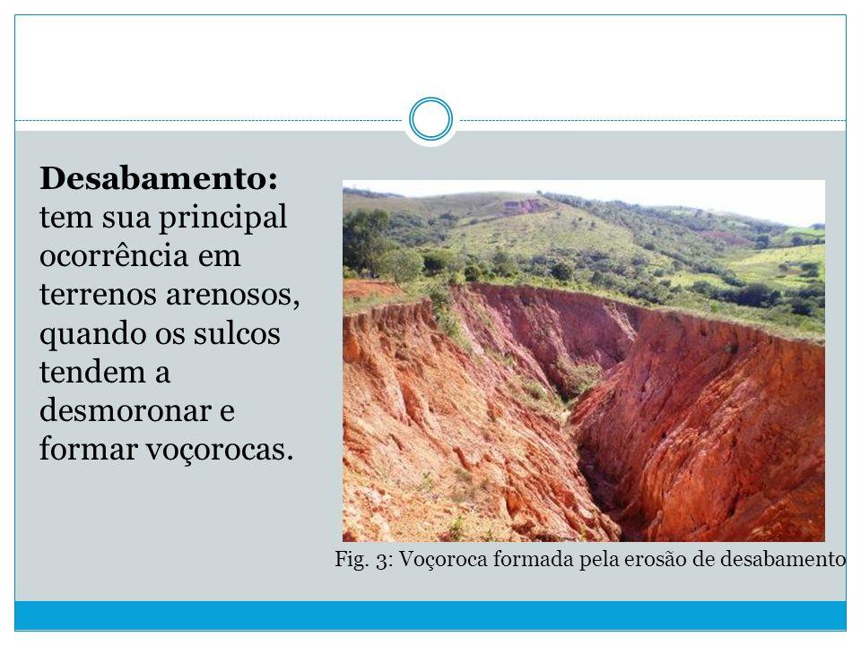 Desabamento: tem sua principal ocorrência em terrenos arenosos, quando os sulcos tendem a desmoronar e formar voçorocas.