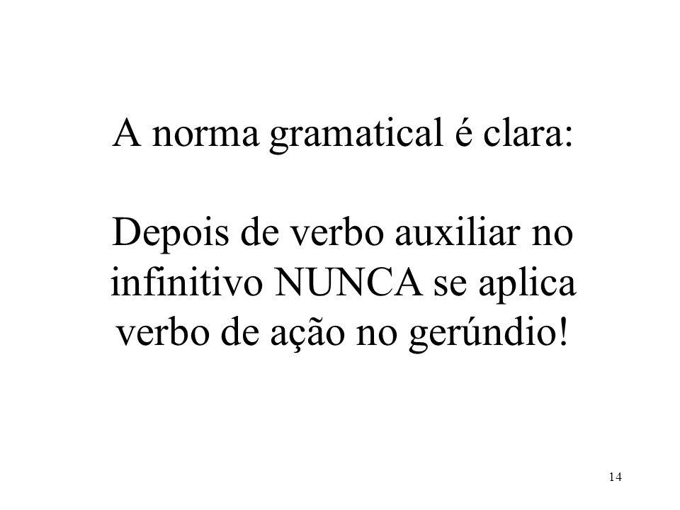 A norma gramatical é clara: Depois de verbo auxiliar no infinitivo NUNCA se aplica verbo de ação no gerúndio!