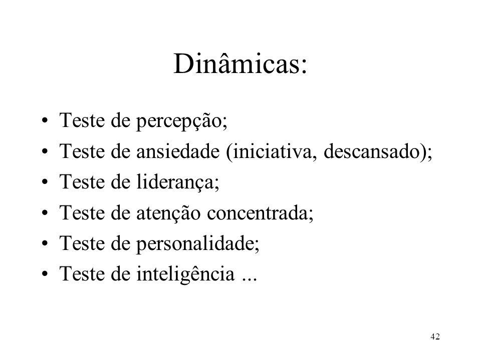 Dinâmicas: Teste de percepção;