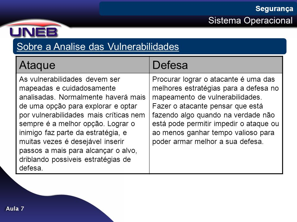 Ataque Defesa Sobre a Analise das Vulnerabilidades Segurança