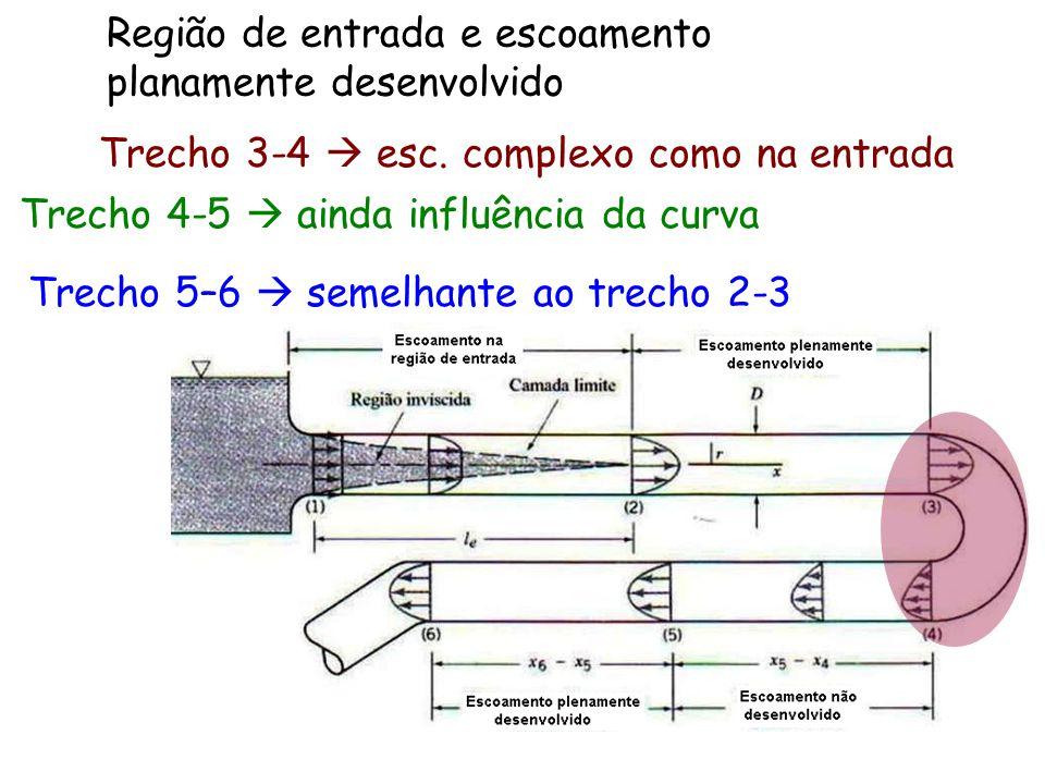 Região de entrada e escoamento planamente desenvolvido