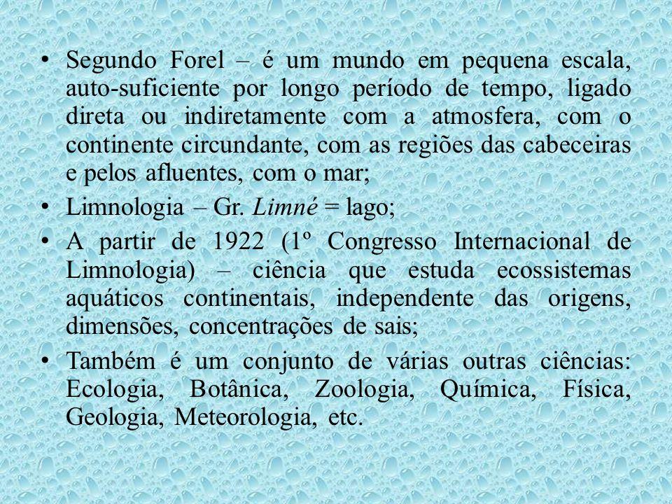 Segundo Forel – é um mundo em pequena escala, auto-suficiente por longo período de tempo, ligado direta ou indiretamente com a atmosfera, com o continente circundante, com as regiões das cabeceiras e pelos afluentes, com o mar;