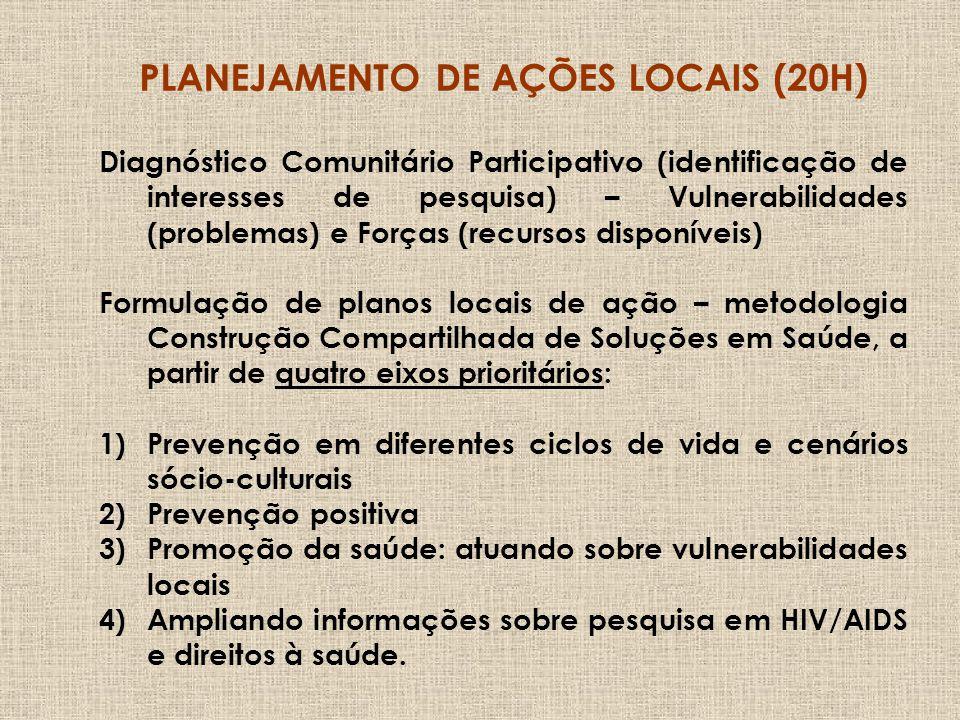 PLANEJAMENTO DE AÇÕES LOCAIS (20H)