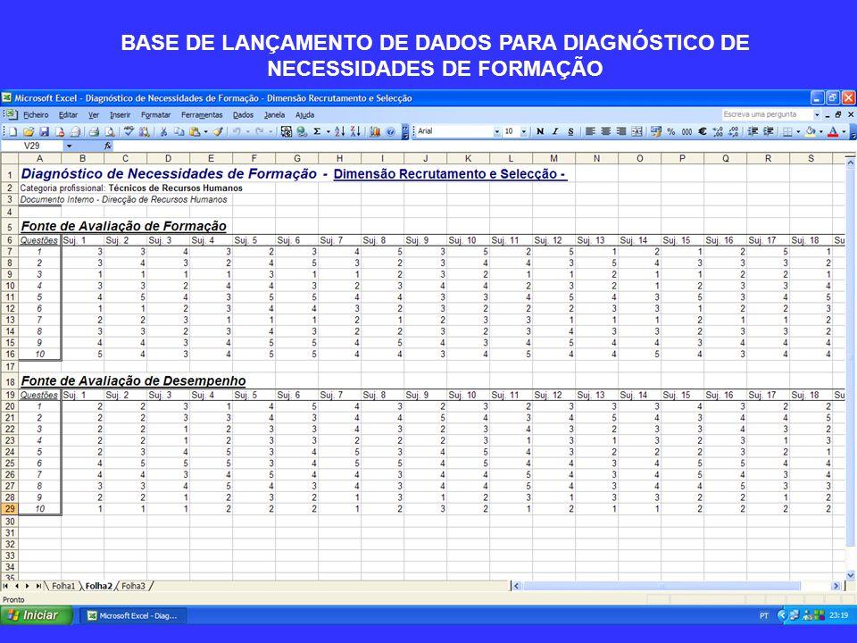 BASE DE LANÇAMENTO DE DADOS PARA DIAGNÓSTICO DE NECESSIDADES DE FORMAÇÃO