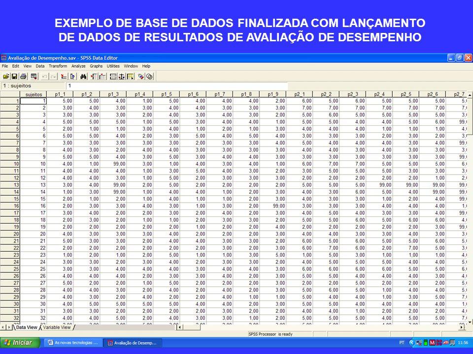 EXEMPLO DE BASE DE DADOS FINALIZADA COM LANÇAMENTO DE DADOS DE RESULTADOS DE AVALIAÇÃO DE DESEMPENHO