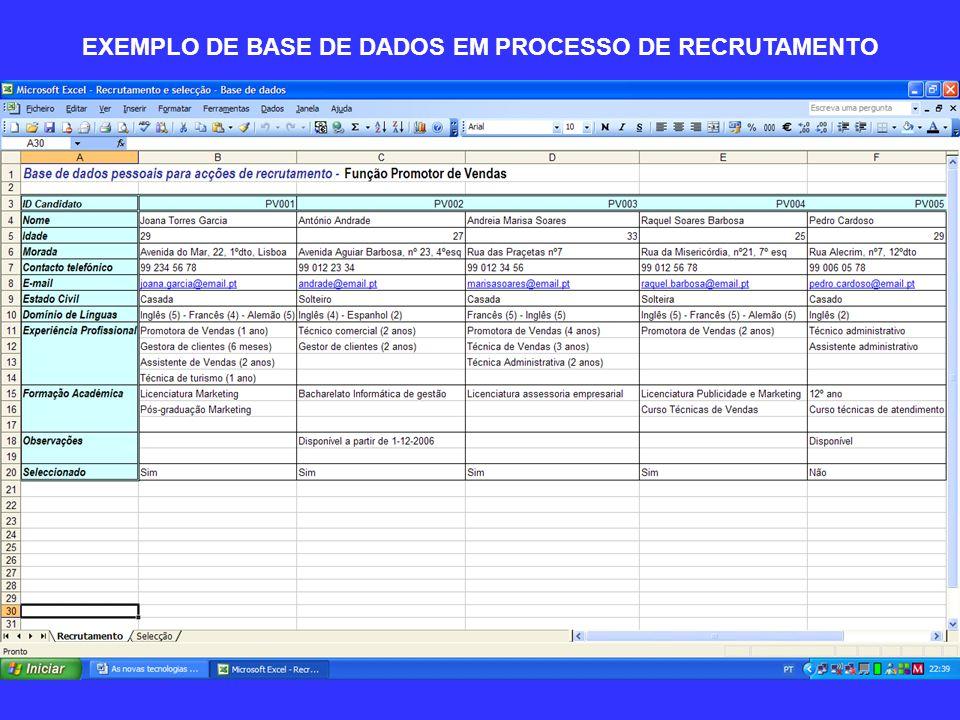 EXEMPLO DE BASE DE DADOS EM PROCESSO DE RECRUTAMENTO