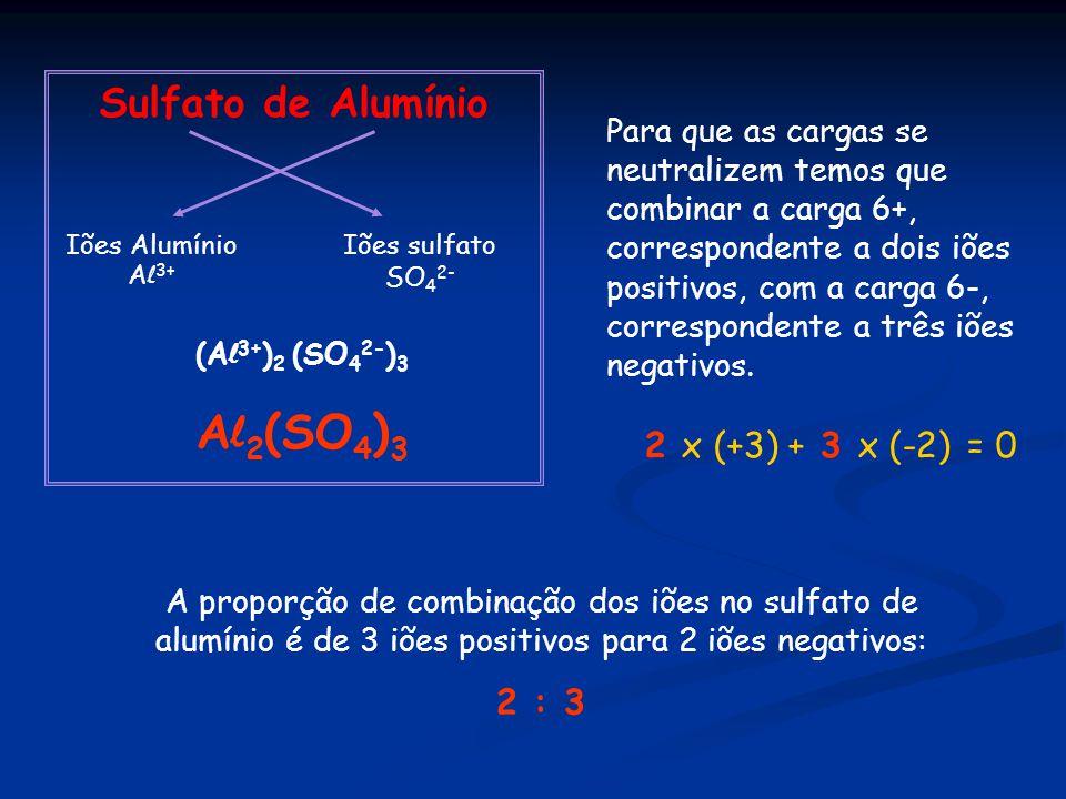 Al2(SO4)3 Sulfato de Alumínio 2 x (+3) + 3 x (-2) = 0 2 : 3