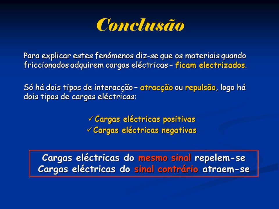Conclusão Cargas eléctricas do mesmo sinal repelem-se