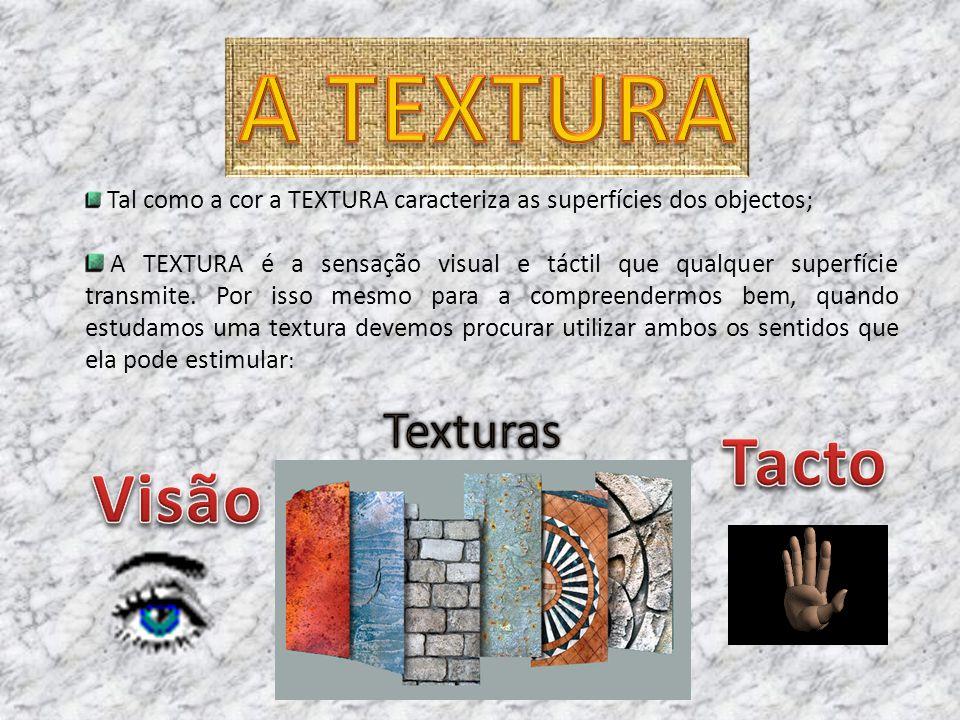 A TEXTURA Tacto Visão Texturas