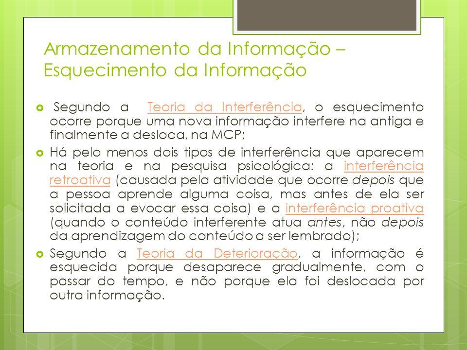 Armazenamento da Informação – Esquecimento da Informação