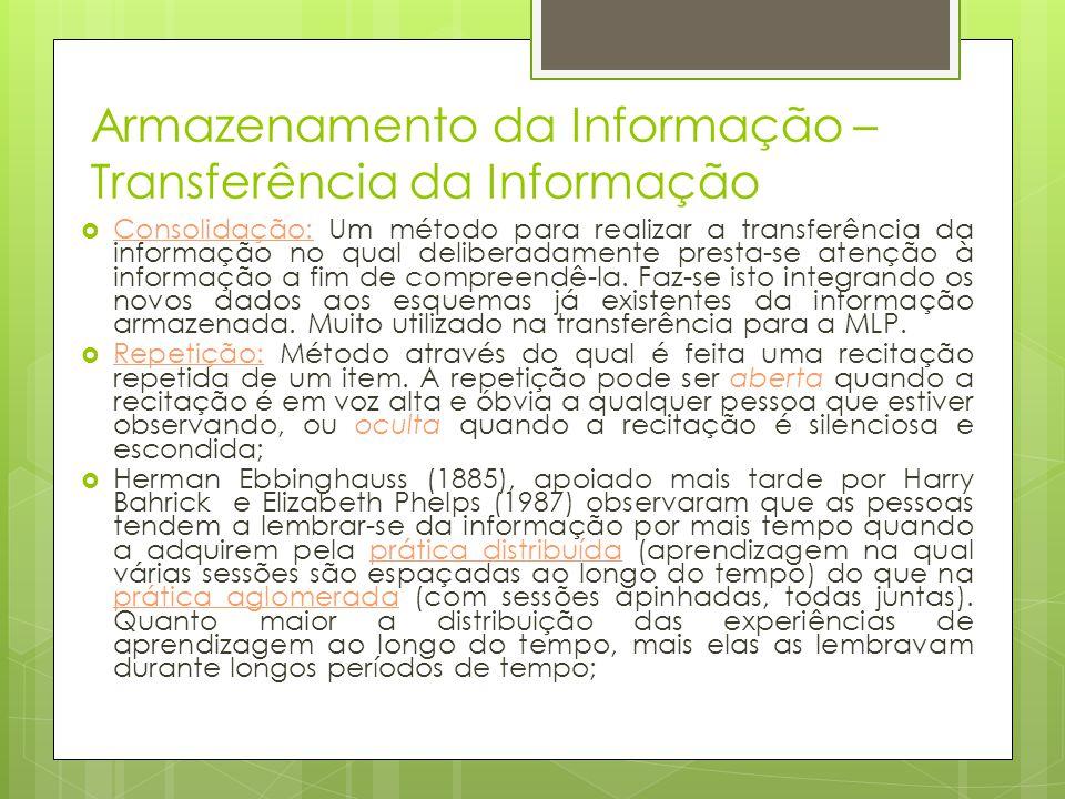 Armazenamento da Informação – Transferência da Informação