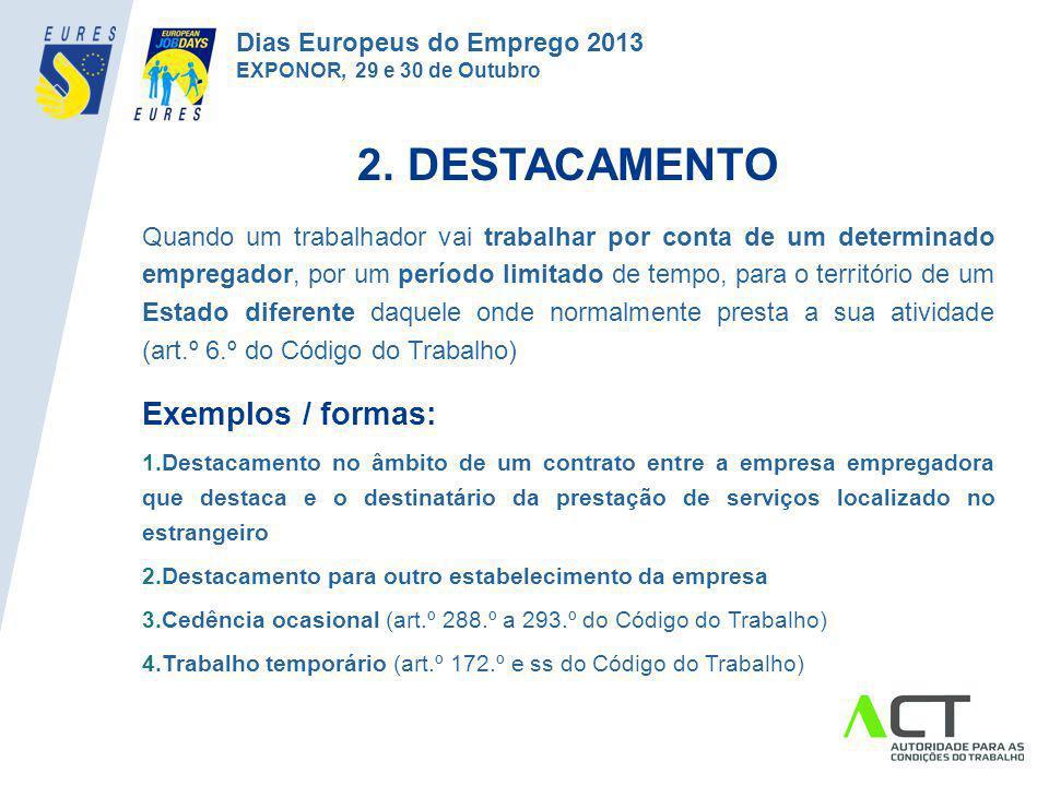 2. DESTACAMENTO Exemplos / formas: Dias Europeus do Emprego 2013
