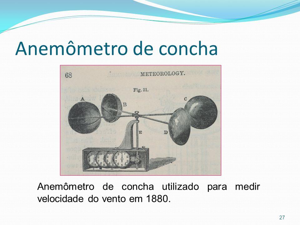 Anemômetro de concha Anemômetro de concha utilizado para medir velocidade do vento em 1880.