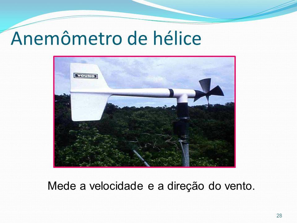 Anemômetro de hélice Mede a velocidade e a direção do vento.