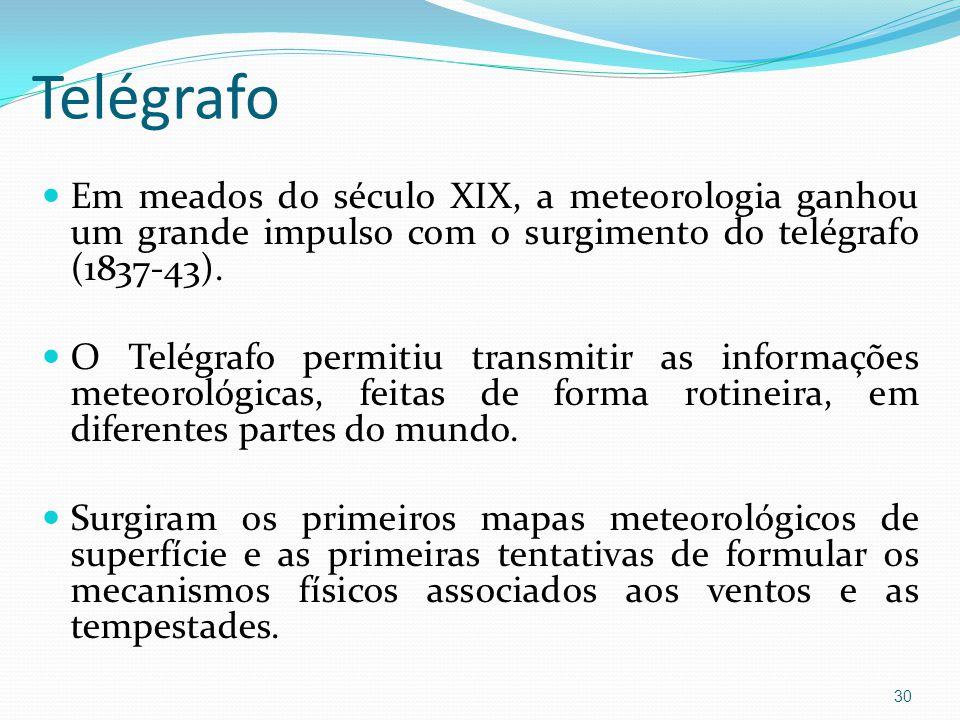Telégrafo Em meados do século XIX, a meteorologia ganhou um grande impulso com o surgimento do telégrafo (1837-43).